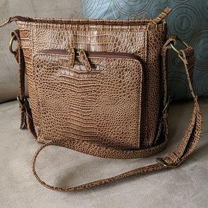 Bags - Vegan Crocodile embossed handbag designer inspired
